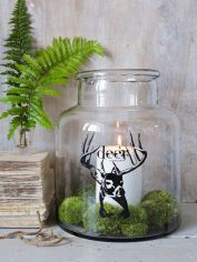 Glass Hurricane Jar - Deer