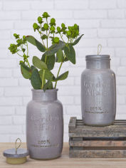 Retro Taupe Vase with Lid